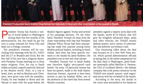 Farahat's Interview with Ami Magazine on President Trump's Riyadh Trip